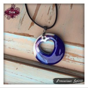 Ceramic blue purple glazed round heart pendant